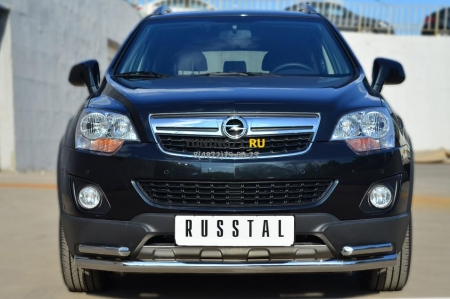 Opel Antara 2012- Защита переднего бампера d63 (секции) d42 (уголки) OAZ-001365